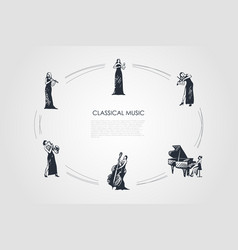 classical music - women musicians playing flute vector image