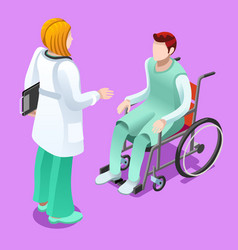 Clinic doctor talking with patient isometric vector
