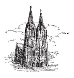 Cologne cathedral vintage vector