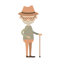 colorful full body elderly man in walking stick vector image