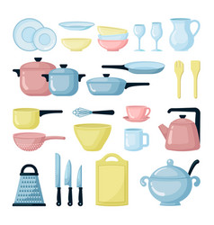 Colorful pots and pans flat set vector