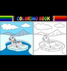 Coloring book with seal cartoon vector