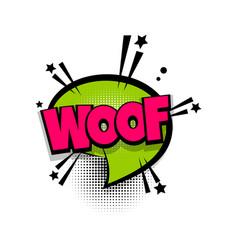 comic text phrase pop art woof vector image