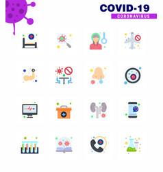 Coronavirus awareness icon 16 flat color icons vector