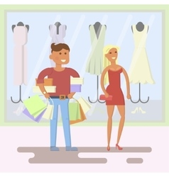 couple on shopping mall background vector image