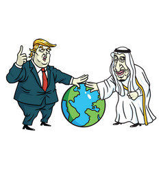 Donald trump and king salman laying hands on globe vector