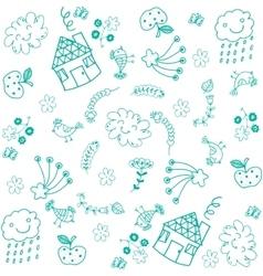 Doodle art for kids green vector