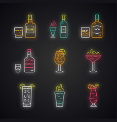 Drinks neon light icons set rum absinwhiskey vector