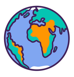 earth planet icon hand drawn style vector image