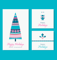 ethnic style winter holidays cards set with tree vector image