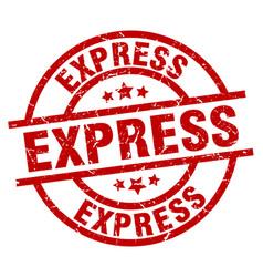 Express round red grunge stamp vector