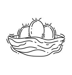 farming nest egg icon hand drawn icon set outline vector image