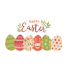 Festive greeting card template with happy easter vector