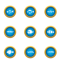 Fish fillet icons set flat style vector