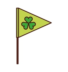 Flag with Saint patricks clover icon vector