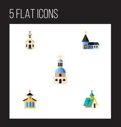 Flat icon building set of architecture church vector