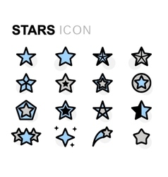 flat stars icons set vector image