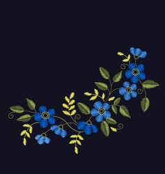 Floral embroidery set for your design cards vector