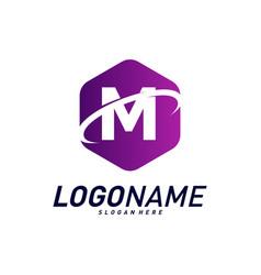 Font with planet logo design concepts letter m vector