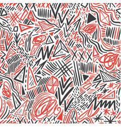 geometric doodle hand drawn seamless pattern vector image