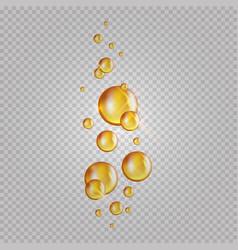 Gold oil bubbles blink collagen capsules vector