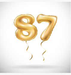 golden number 87 eighty seven metallic balloon vector image