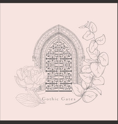 Gothic gate hand drawn sketch vintage doors vector