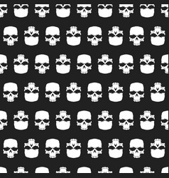grunge skulls seamless pattern background vector image