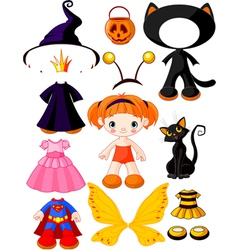 Halloween doll with dresses vector
