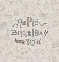 Hand drawn happy birthday greeting card vector