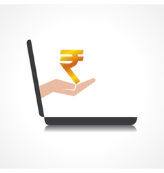hand holding rupee symbol comes from laptop screen vector image