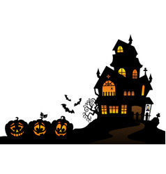 haunted house silhouette theme image 4 vector image