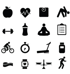 healthy living diet and fitness icons vector image
