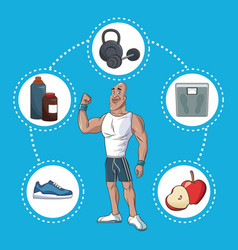 Healthy man active sport life vector