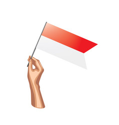 indonesia flag and hand on white background vector image