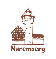 Isolated nuremberg castle in hand drawn style vector
