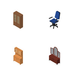 Isometric design set of cabinet office cupboard vector