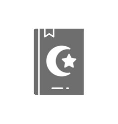 Koran quran holy book for muslims gray icon vector