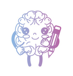 Line kawaii happy brain with pencil tool vector