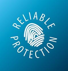 Logo fingerprint on a blue background vector