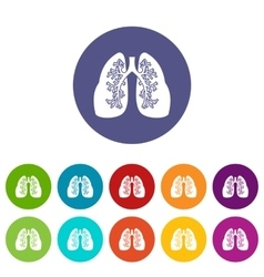 Lungs set icons vector