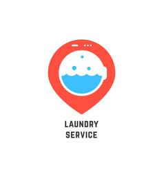 map pin like laundry service logo vector image