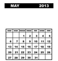 May calendar 2013 vector
