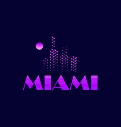 miami emblem in the style of the 80s points vector image