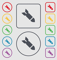 Missilerocket weapon icon sign symbol on the round vector