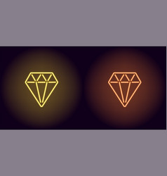 neon diamond in yellow and orange color vector image