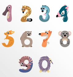 Numbers like Australian animals vector