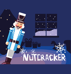 Nutcracker general with tree christmas vector