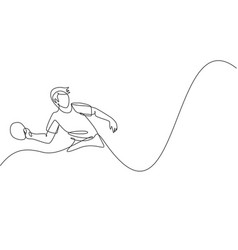 One continuous line drawing young sporty man vector
