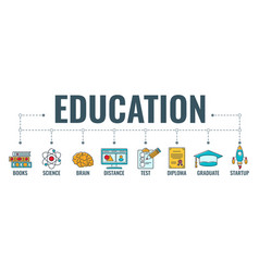 online distance education banner vector image